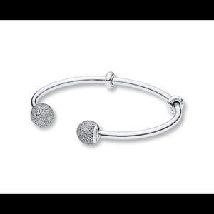 Authentic Pandora bangle bracelet with Swarovski